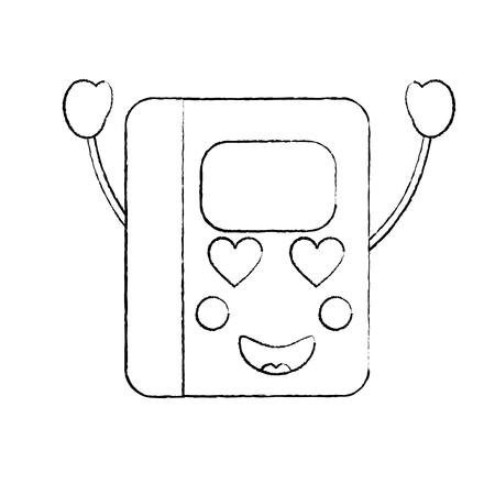 notebook heart eyes  school supplies kawaii icon image vector illustration design  black sketch line