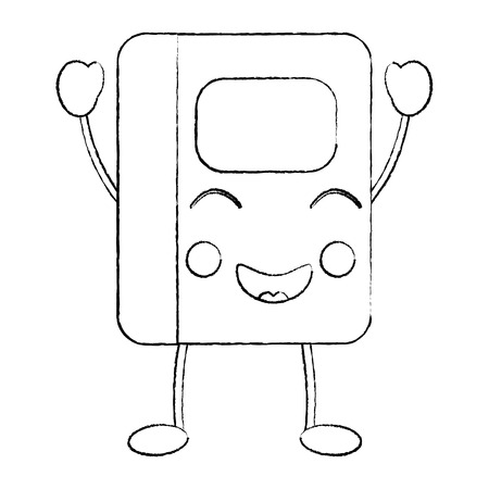 notebook happy   school supplies kawaii icon image vector illustration design  black sketch line Ilustração