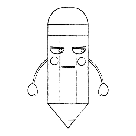 Pencil angry school supplies icon image vector illustration design black sketch line.