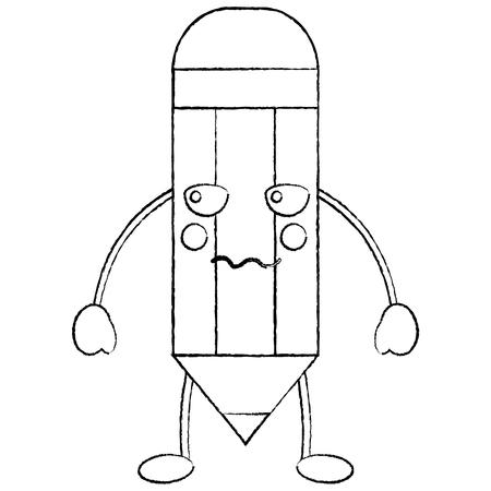 pencil angry school supplies kawaii icon image vector illustration design  black sketch line