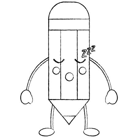 pencil sleep school supplies kawaii icon image vector illustration design  black sketch line Illustration