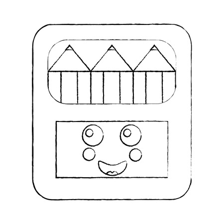 happy colored pencils box school supplies kawaii icon image vector illustration design  black sketch line