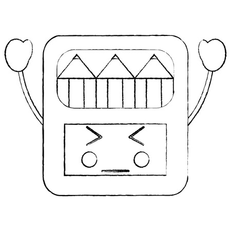 angry colored pencils box school supplies  icon image vector illustration design black sketch line