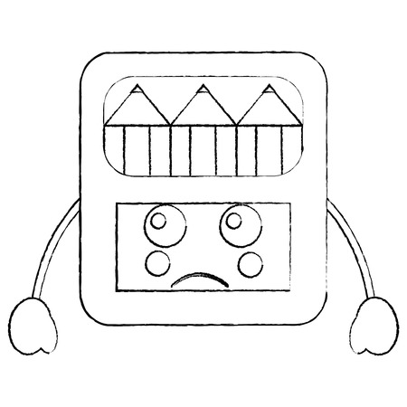 sad colored pencils box school supplies kawaii icon image vector illustration design  black sketch line