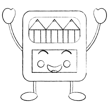 Happy colored pencils box school supplies icon image vector illustration design black sketch line.