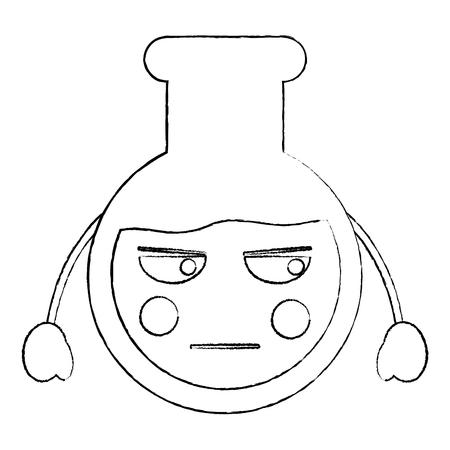 Laboratory flask glass kawaii cartoon
