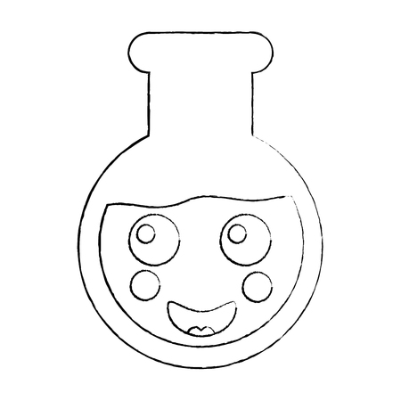 laboratory flask glass kawaii cartoon vector illustration sketch design Illustration