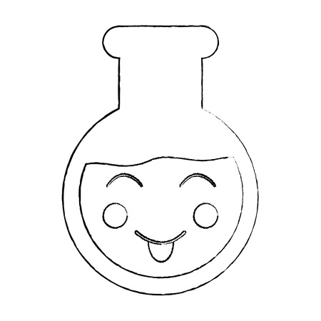 laboratory flask glass kawaii cartoon vector illustration sketch design Illustration
