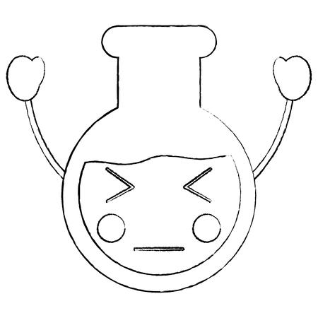 Boos kawaiibeeldverhaal van het laboratoriumflesglas