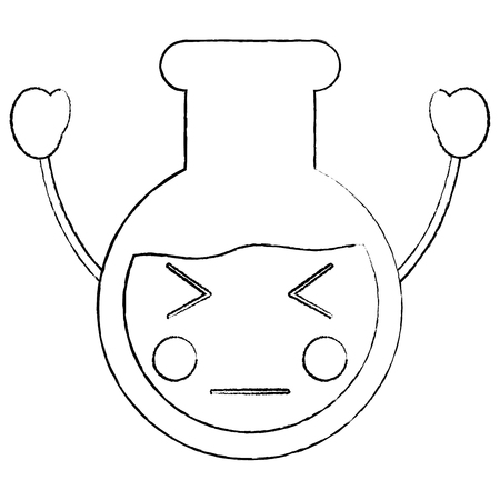 Angry Laboratory flask glass kawaii cartoon