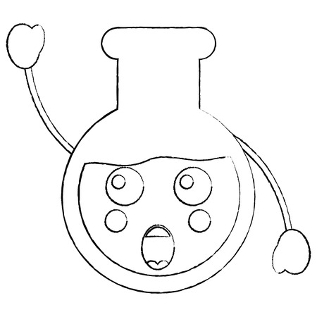 Laboratory flask glass kawaii cartoon