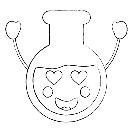 Laboratory flask glass in love  kawaii cartoon
