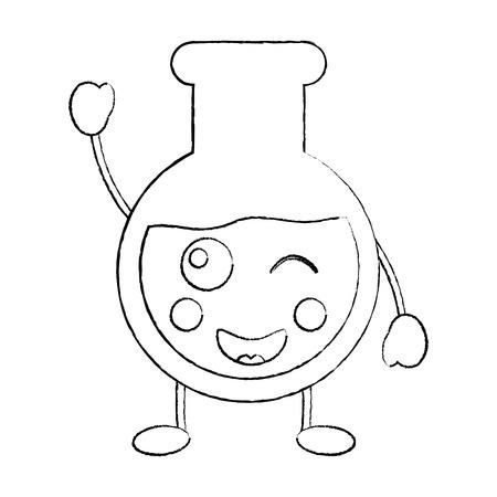 laboratory flask glass kawaii cartoon vector illustration sketch design Vectores
