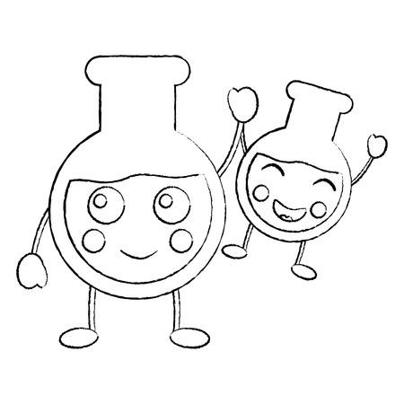 만화 튜브 테스트 실험실 카와이 문자 벡터 일러스트 스케치 디자인