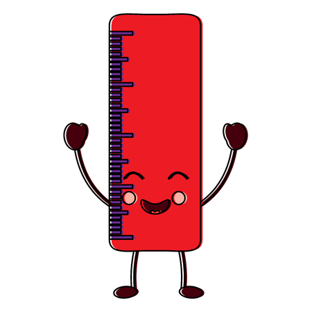 school ruler comic character vector illustration Illustration