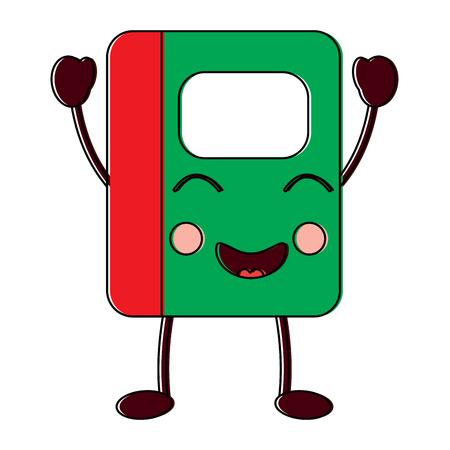 Notebook school cartoon character vector illustration.