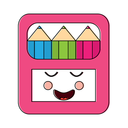 Happy colored pencils box school supplies kawaii icon