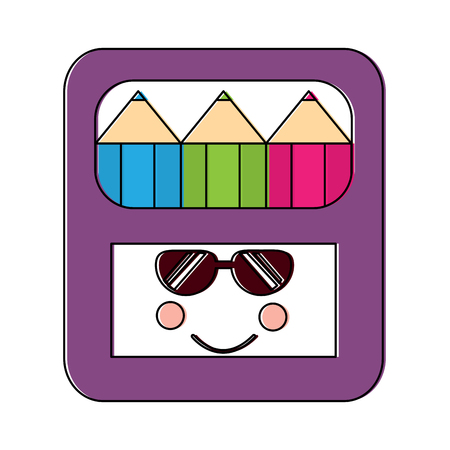 colored pencils box sunglasses school supplies icon image vector illustration design