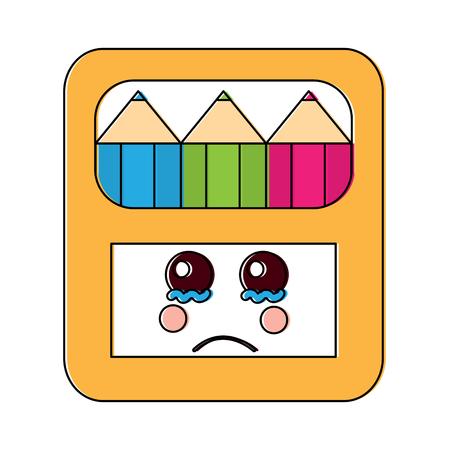 Traurige farbige Bleistifte Box Schule liefert Kawaii Symbol Bild Vektor Illustration design Standard-Bild - 93479883