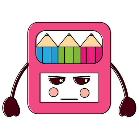 angry colored pencils box school supplies icon image vector illustration design Illustration