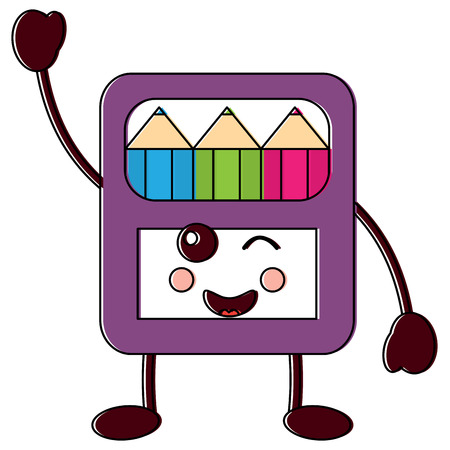 happy colored pencils box school supplies icon image vector illustration design black line Illustration