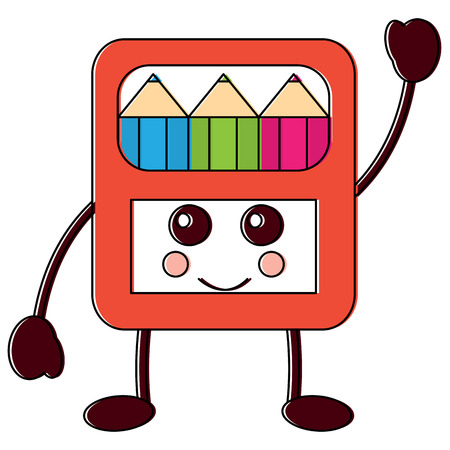 happy colored pencils box school supplies  icon image vector illustration design black line