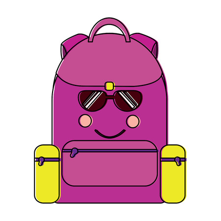backpack sunglasses school supplies icon image vector illustration design Illustration