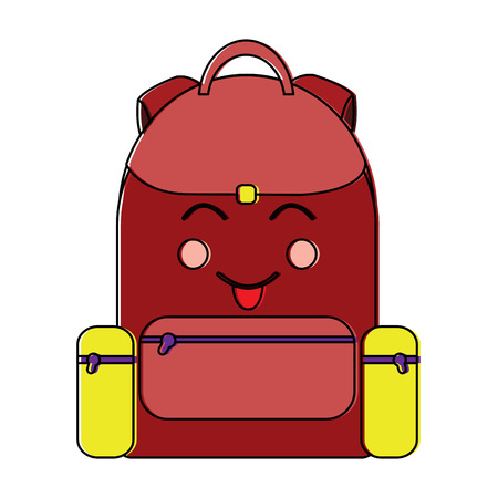 happy backpack school supplies  kawaii icon image vector illustration design