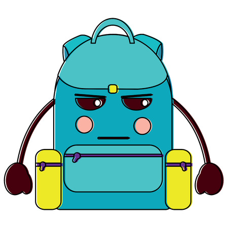 angry backpack school supplies  icon image vector illustration design Illusztráció