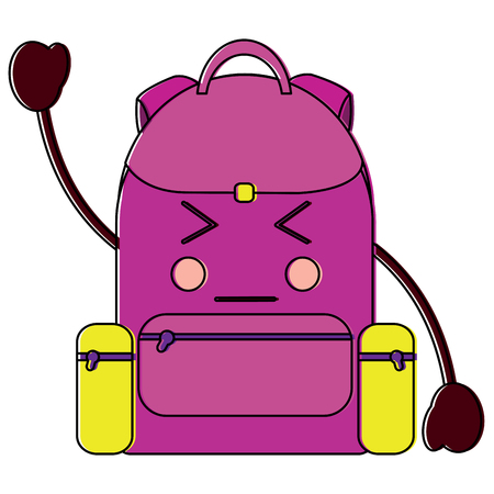 Angry backpack school supplies kawaii icon image vector illustration design