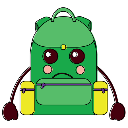 Sad backpack school supplies kawaii icon image vector illustration design