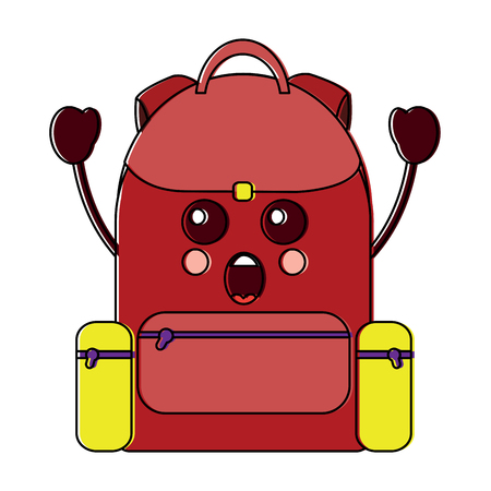 Surprised backpack school supplies kawaii icon image vector illustration design