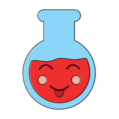 Happy flask laboratory kawaii icon image vector illustration design