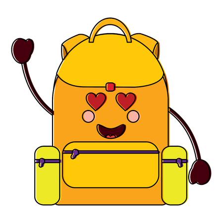 backpack heart eyes school supplies icon image vector illustration design Ilustração