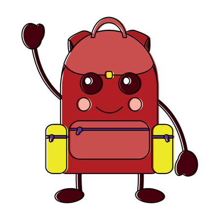 happy backpack school supplies icon image vector illustration design Ilustração