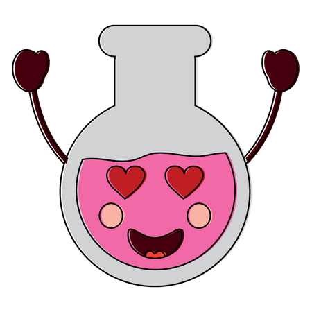 flask heart eyes laboratory icon image vector illustration design