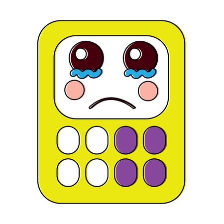 Sad calculator school supplies kawaii icon image vector illustration design Vettoriali