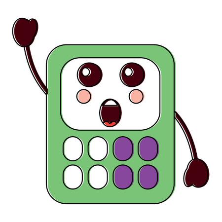 surprised calculator school supplies kawaii icon image vector illustration design
