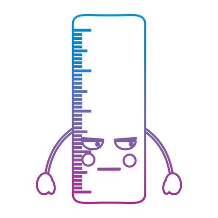 定規怒っている学校用品アイコン画像ベクトルイラストデザイン青から紫のオンブレライン