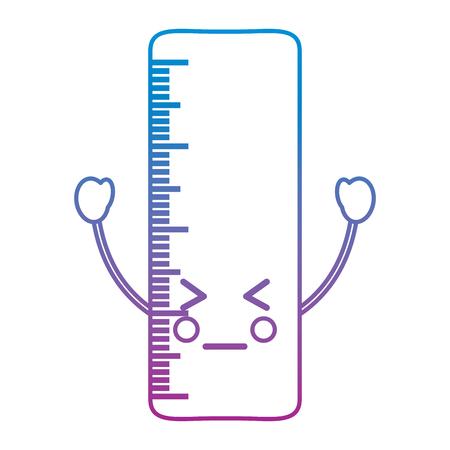ルーラー怒っている学校用品可愛いアイコン画像ベクトルイラストデザイン青から紫のオンブレライン
