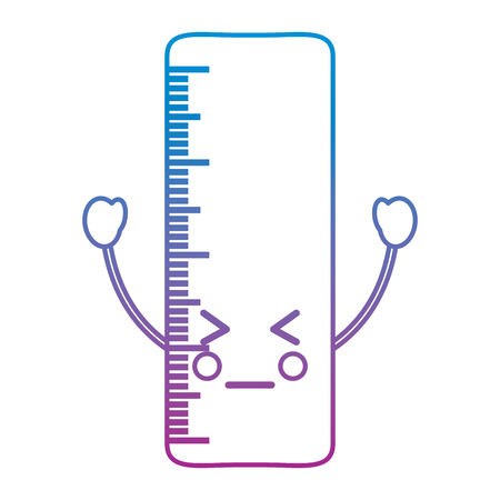 Ruler angry school supplies kawaii icon image vector illustration design blue to purple ombre line