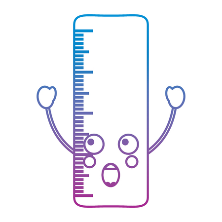Ruler excited school supplies kawaii icon image vector illustration design blue to purple ombre line