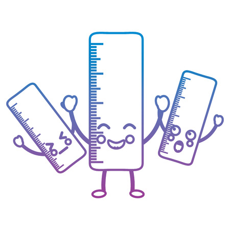 rulers school supplies kawaii icon image vector illustration design blue to purple ombre line