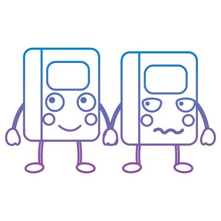 kawaii cartoon two school notebook character vector illustration blue and purple line design Illustration