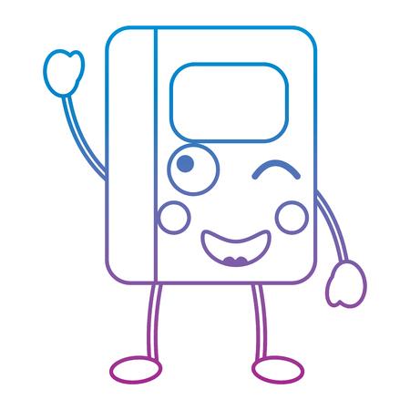 kawaii notebook school cartoon character vector illustration blue and purple line design