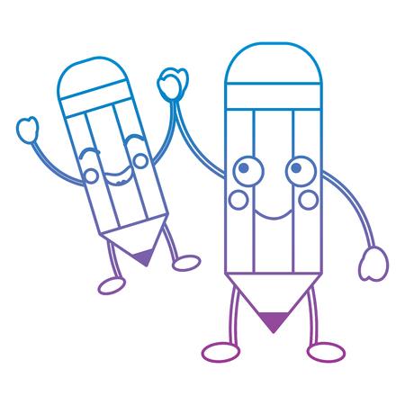 cartoon pencils character funny vector illustration blue and purple line design Vektorové ilustrace