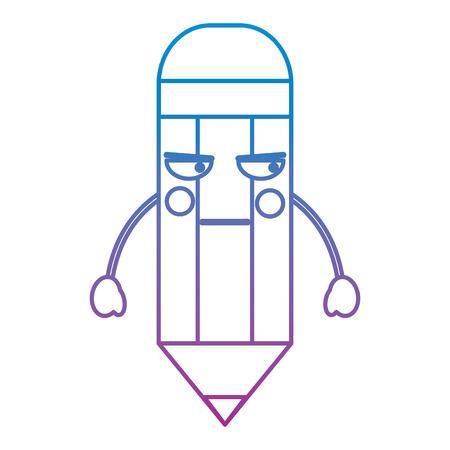 wooden pencil cute cartoon vector illustration blue and purple line design