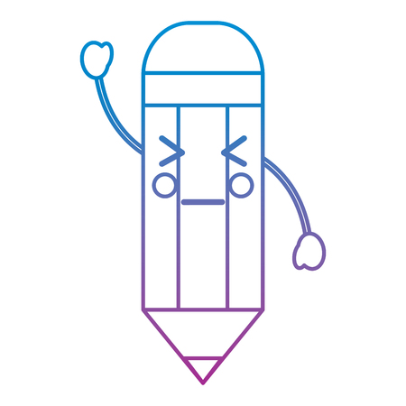wooden pencil cute  cartoon vector illustration blue and purple line design Illustration