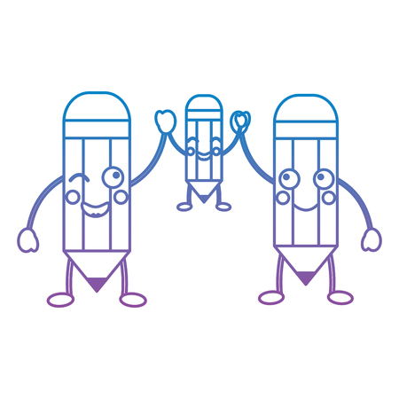 cartoon pencils character funny vector illustration blue and purple line design