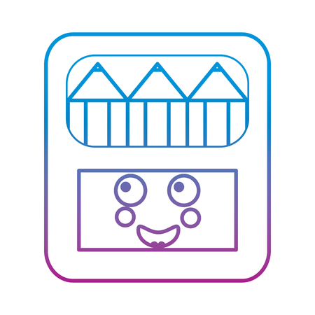 pencils in box   character vector illustration blue and purple line design